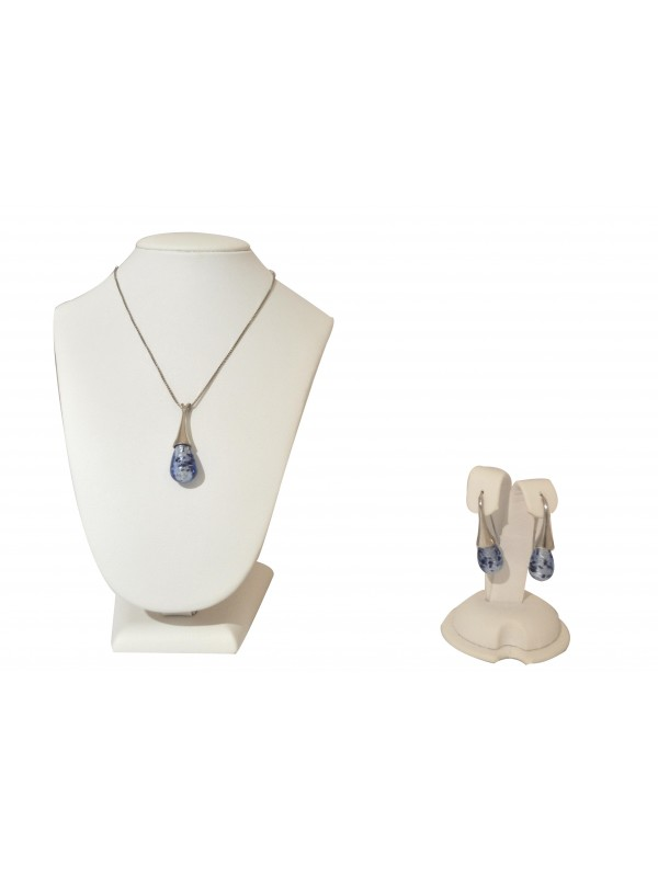 Light Blue Murano glass Necklace and Earrings CO006