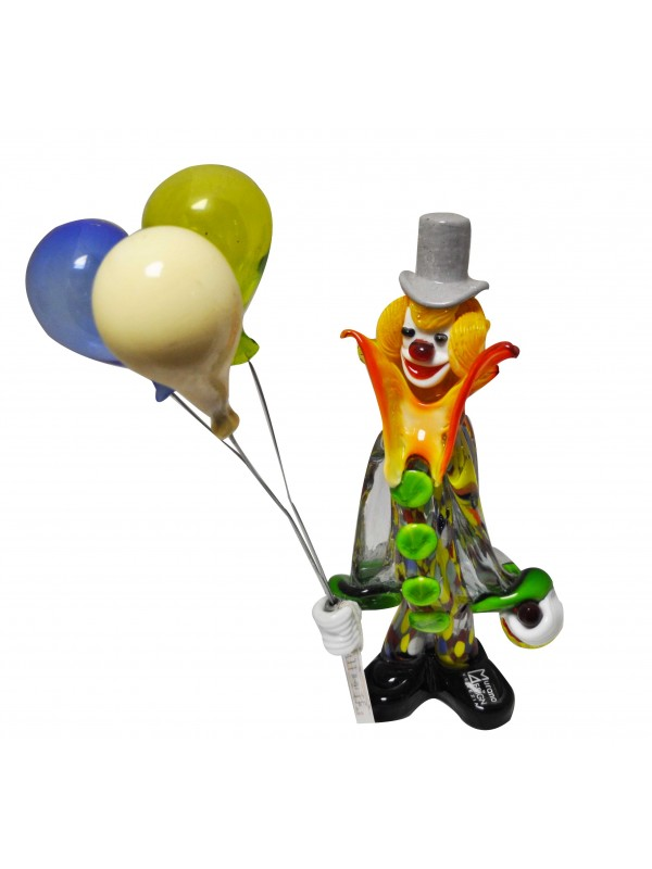 Murano Glass Clowns with Balloons MGCB0011