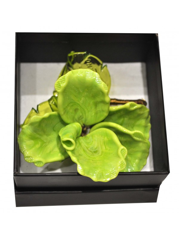 Murano Glass Box Green Rose MGRR02