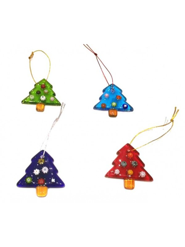 Murano Glass 4 Small Christmas Tree Decorations