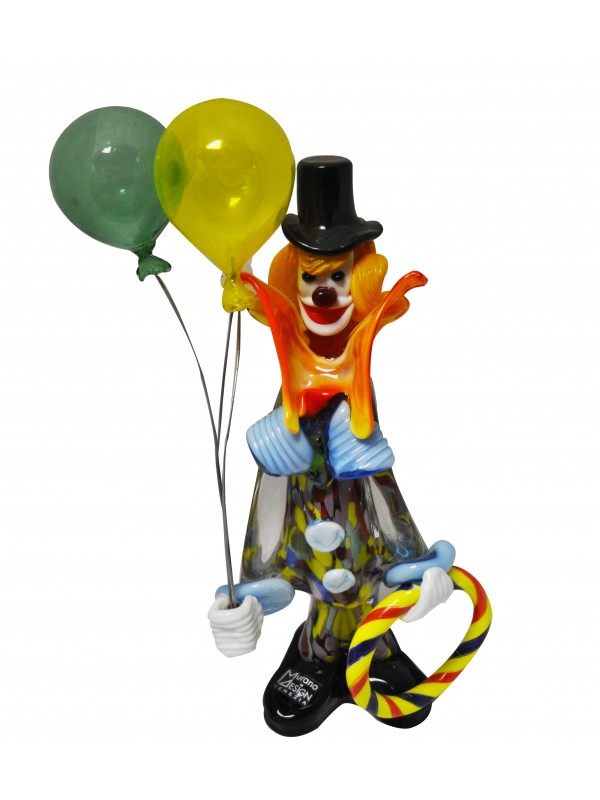 Murano Glass Clowns with Balloons MGCB001