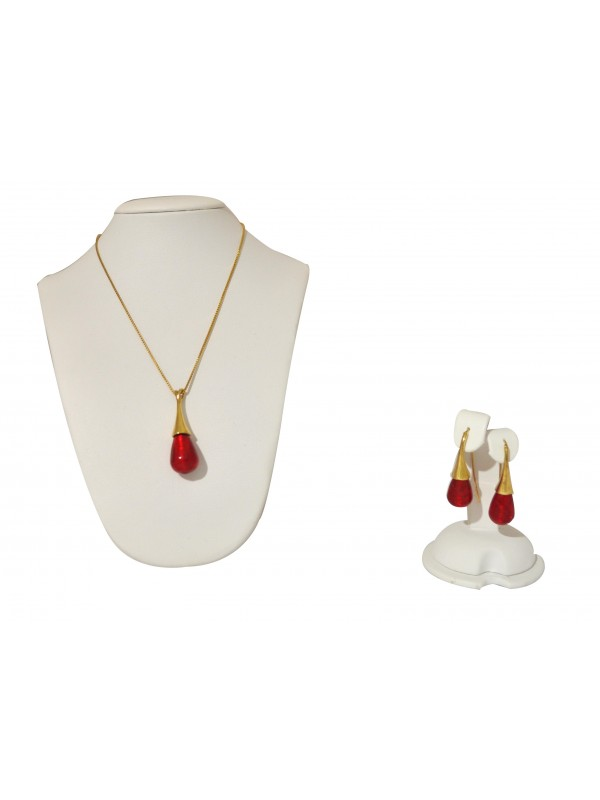 Red Murano glass Necklace and Earrings CO002