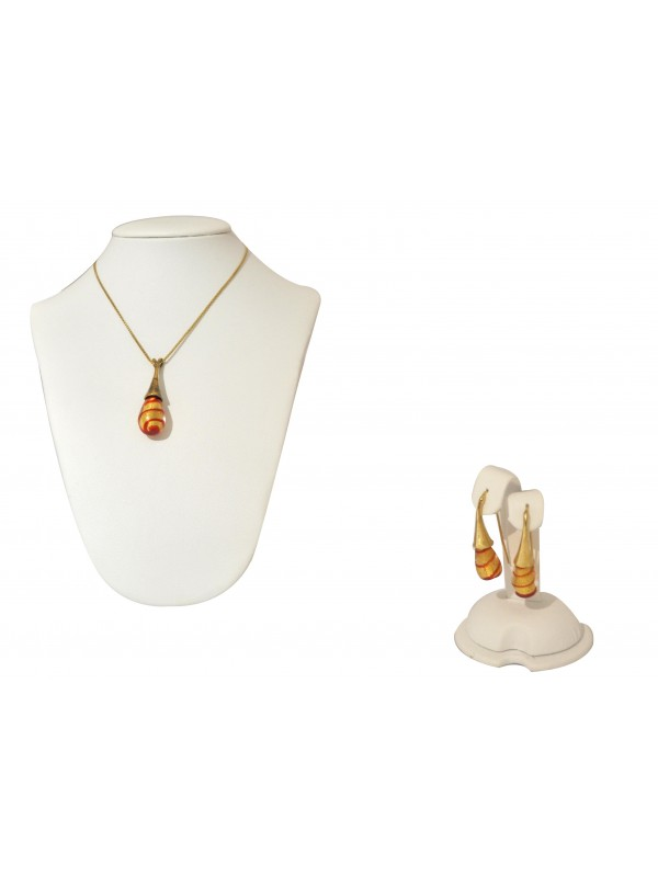 Gold and Red Murano glass Necklace and Earrings CO005
