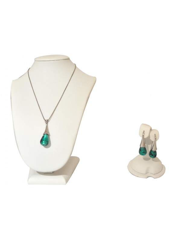 Murano glass Green Necklace and Earrings CO007