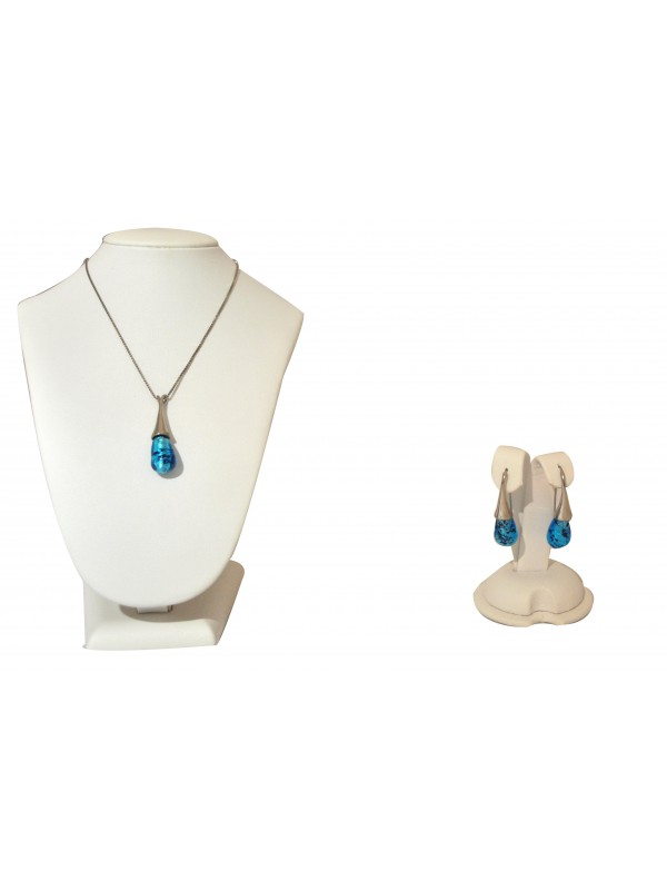 Murano glass Necklace and Earrings Black and blue CCO08