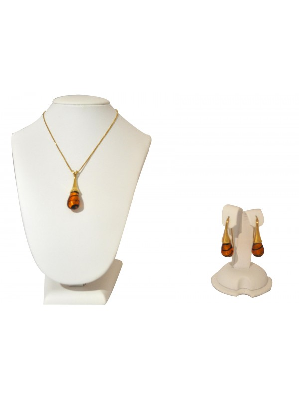 Murano glass Black and Amber  Necklace and Earrings CCO09