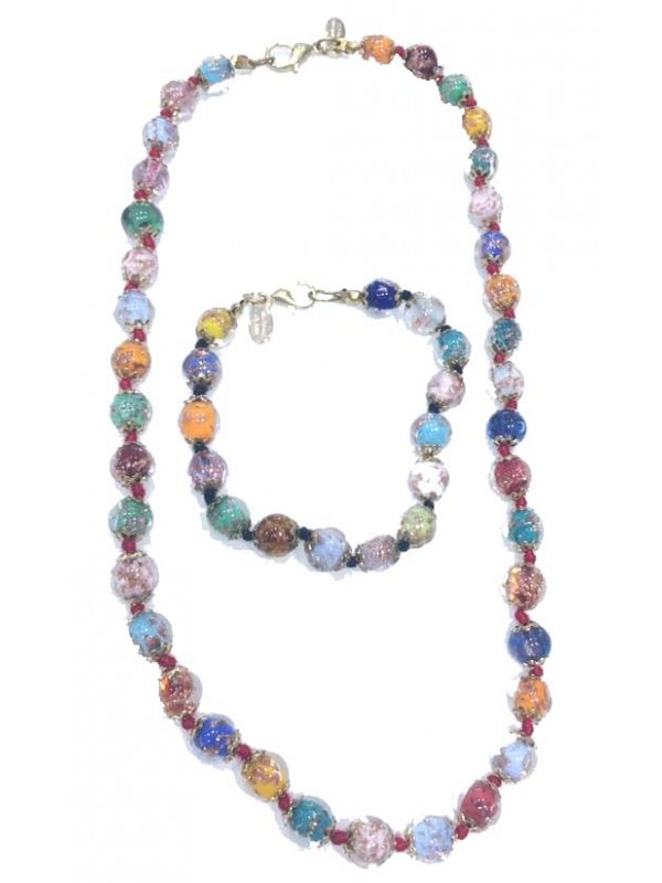 Murano Glass Necklace and Bracelets multicolor MGNBM