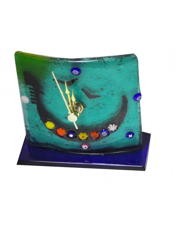Beautiul Murano Glass table clock with gondola