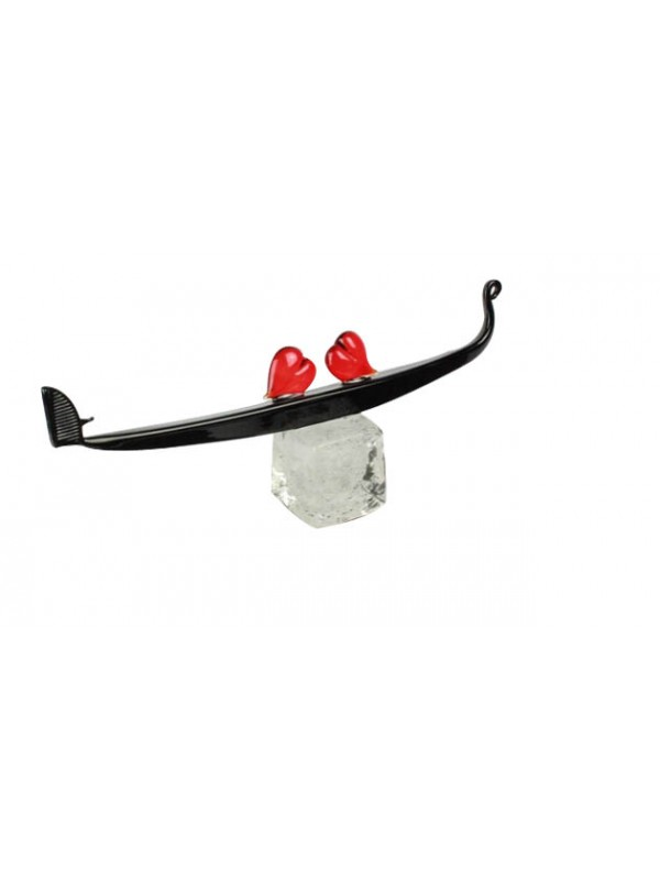 Murano Glass Gondola with two red hearts