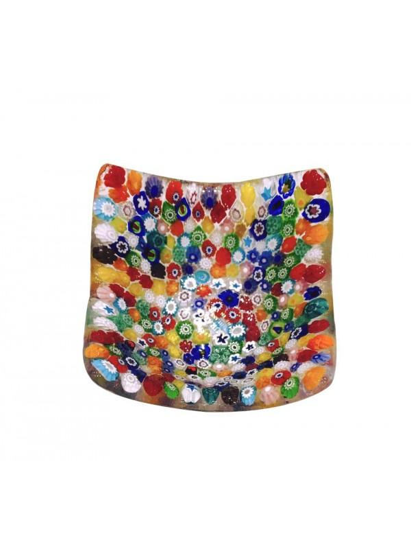 Piatto mini millefiori in vetro di Murano