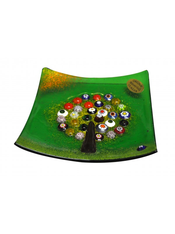 Piatto in vetro di murano con albero della felicità PL006