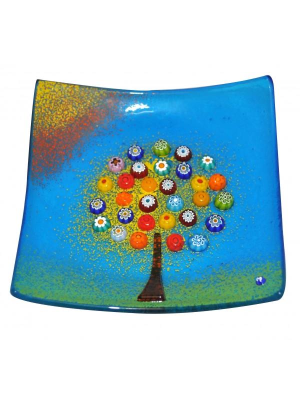 Piatto in vetro di murano con albero della felicità