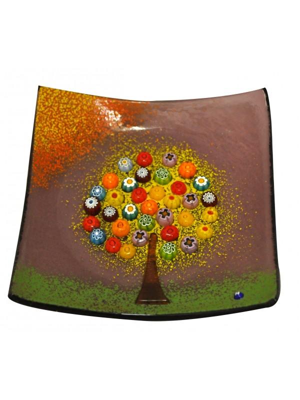 Piatto in vetro di murano con albero della felicità PL002