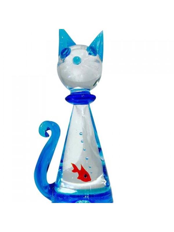 Gatto in vetro di Murano con pesce rosso all'interno MGC002